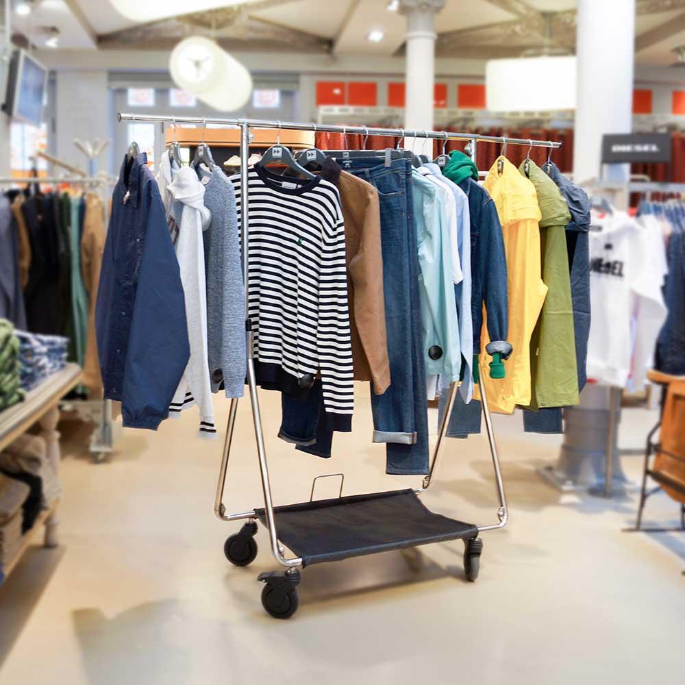 Foldable PRO Rack 30500BW 230,00€ mobile clothes rail - Folding cloth rail for garment bags