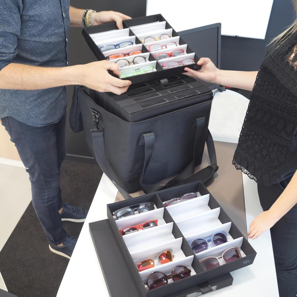 SELECTION-Tasche 43204W Selection-Koffer Präsentationsschrank Brillen - Monturen transportieren für Mobile Optiker