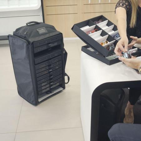 PROLINE Optik-Koffer mit Schubladen  Option - Schubladenstruktur Präsentationsschrank Brillen - Monturen transportieren für M...