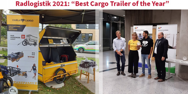 Radlogistik 2021 : ''Best Cargo Trailer of the Year'' for CARLA CARGO with the Max Messenger Light from Bag PRO !